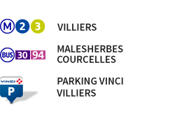 metro 2 et 3, bus 30 et 94, parking vinci villiers